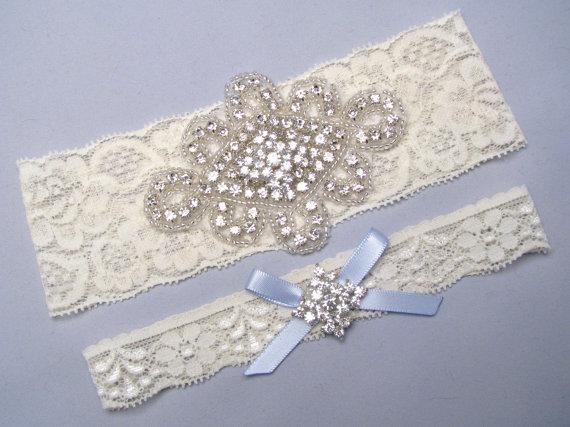 Свадьба - Ivory / White Lace Garter Set, Crystal Rhinestone Bridal Garters, Something Blue Silver Garter Belt, Custom Size Keepsake and Toss Garters