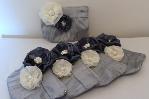 Wedding - Wedding / Bridal / Bridesmaid Clutch / Wristlet clutch with Charcoal & Ivory stardust brooch - Perfect Bridesmaid Gift