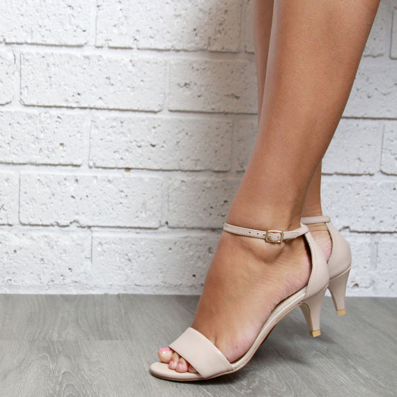Ladies Nude Leather Kitten Heel Shoes. Low Heels. Perfect Party Or ...