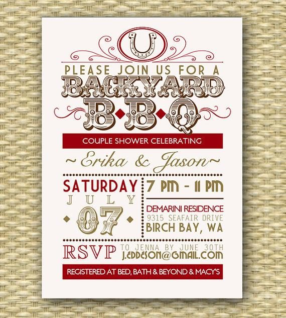 Hochzeit - Country Western BBQ Couples Shower Invitation Bridal Shower Wedding Shower Summer BBQ Party Invitation Typography Poster Red Gold, Any Event