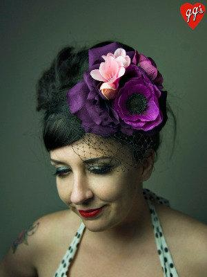 Свадьба - Pretty Purple Peonies Floral Fascinator with Veil Bridal Pinup Vintage Style