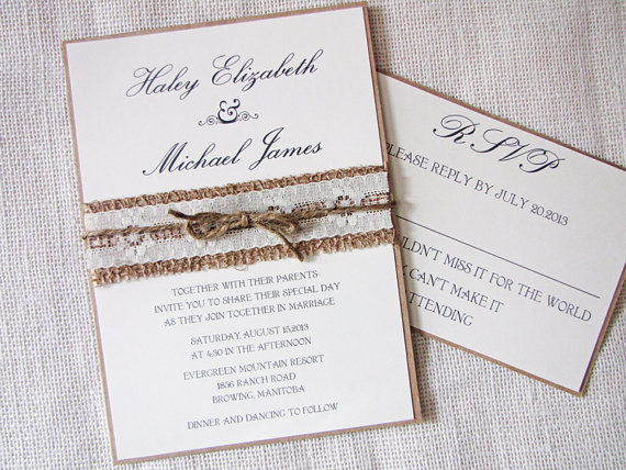 Rustic Wedding Invitation, Burlap Wedding Invitation, Lace Wedding  Invitations, Rustic Country Lace Shabby Chic Wedding Inviation. Handmade