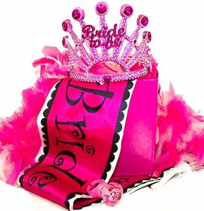 زفاف - FREE SHIPPING Bride To Be Gift Set - Pink, Tiara, Bride Sash, Feather Boa, Light Up Ring, Bachelorette Party