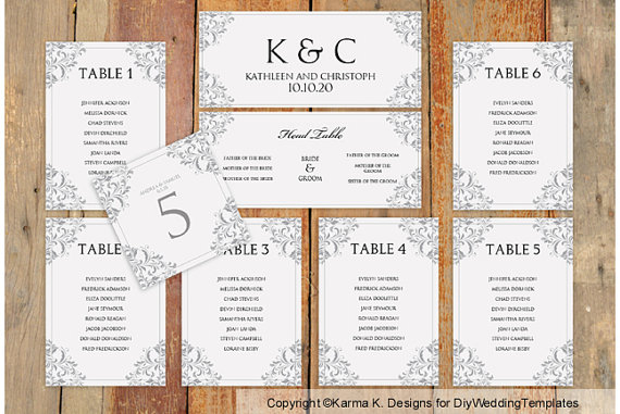 Wedding Seating Chart Template - Download Instantly - Edit