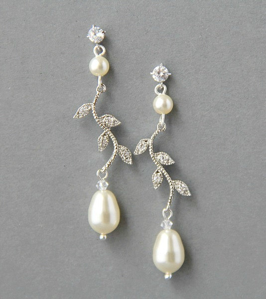 Bridal Crystals And Pearls Earrings Pearl Wedding Leaf Crystal Bridesmaids Jewelry