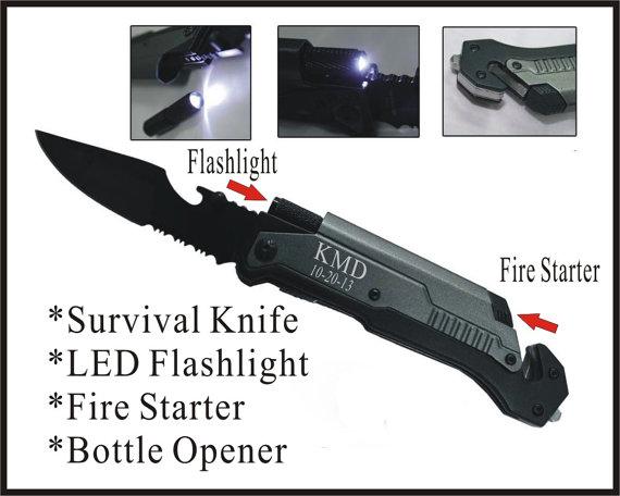 Свадьба - 6 Personalized  Black Rescue Pocket Hunting Knife Custom Engraved  Knife Led Flashlight, Bottle Opener, Groomsmen Groomsman Knife Gift-LED