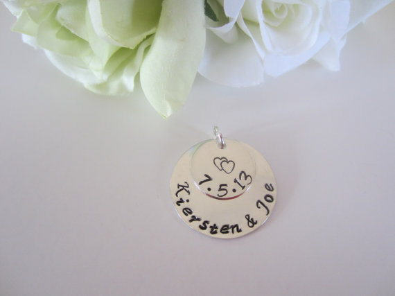 Mariage - Bridal Bouquet Charm-Personalized Wedding Bouquet Charm-Bride Groom Charm-Hand Stamped Sterling Silver Bridal Charm