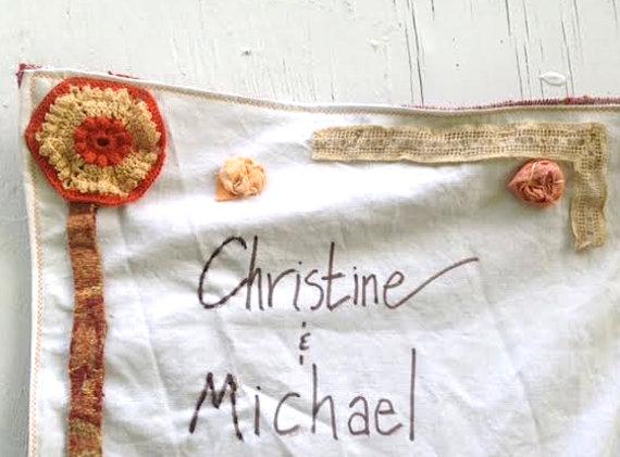 Mariage - CUSTOM wedding wallhanging invitation anniversary textile decor shower gift  bridesmaid collage shabby prairie style, barn, shabby, custom