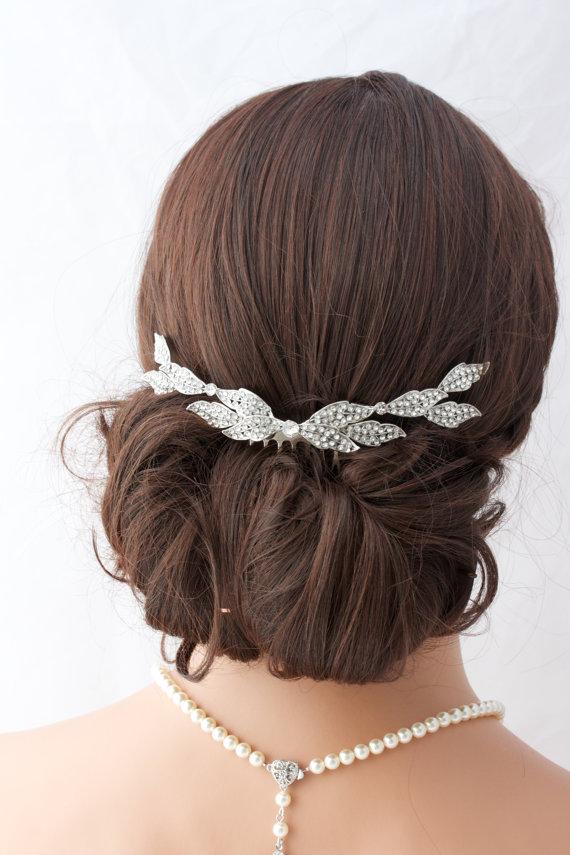 Mariage - Wedding Comb Bridal Hair Accessory Crystal Leaf Back Comb Rhinestone Leaves Veil Slide Back Hair Clip ELOISE