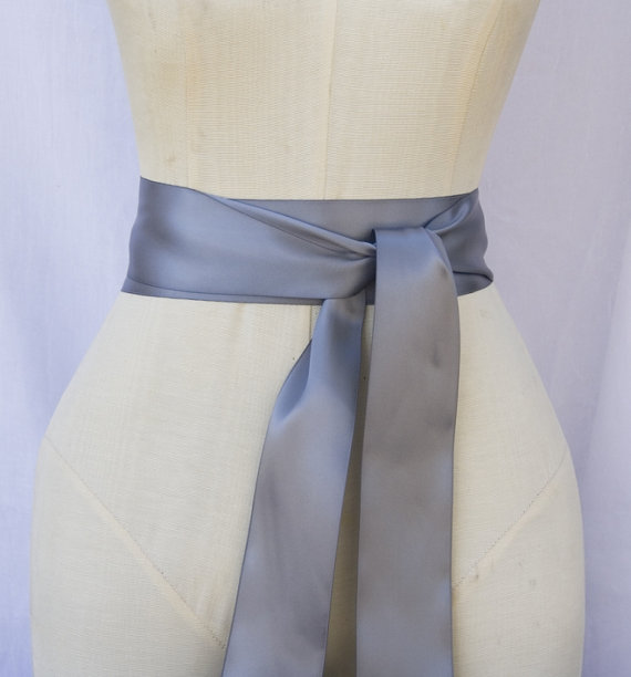 Свадьба - Gray Ribbon Sash - choice of 2.25 or 1.5 inch width x 144 inches/4 yard length -Wedding Sash, Bridal Sash, Plain Gray Sash, Bridal Belt, DIY