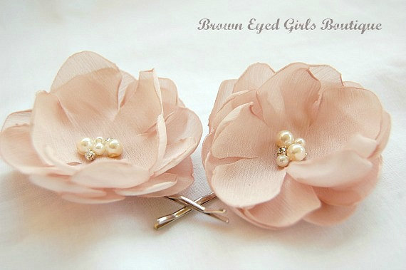 Mariage - Blush Bridal Flower Hair Clip Duo, Blush Wedding Hair Accessory, Blush Bridal Head Piece