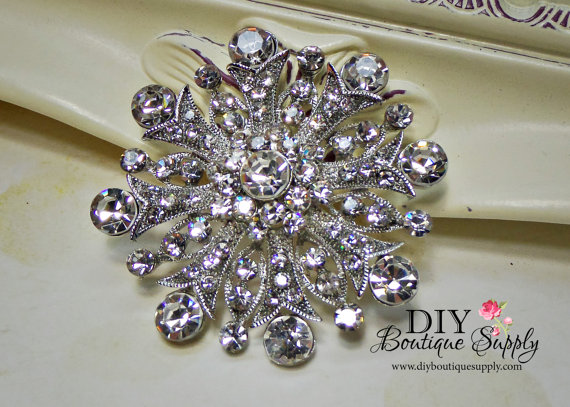 زفاف - Big Rhinestone Brooch Crystal Brooch Bouquet Wedding Bridal Accessories Sash Pin Cake Brooch 55mm 683250
