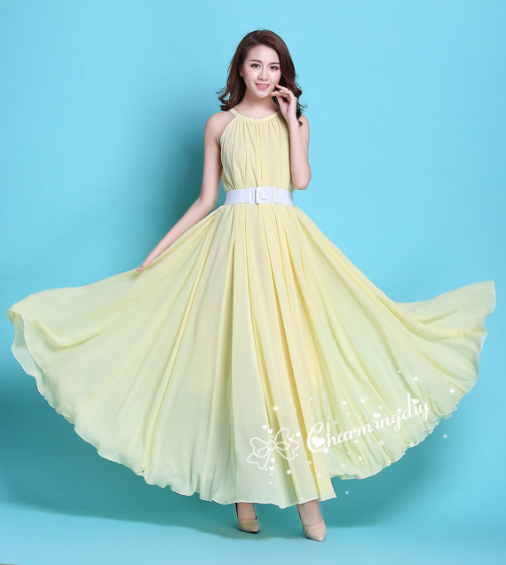 29 Colors Chiffon Light Yellow Long Party Dress Evening Wedding Sundress Maternity Summer Holiday Beach Bridesmaid Maxi Skirt