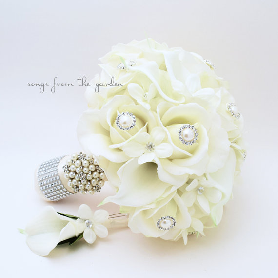 Reserved silk flower bridal bouquet stephanotis real touch roses reserved silk flower bridal bouquet stephanotis real touch roses calla lilies bridesmaids bouquets groom groomsmen bouts corsages mightylinksfo