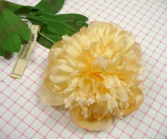 Mariage - Vintage Millinery Peony Flower Pale Apricot Peach NOS Germany for Hats Weddings Fascinators, Bouquets
