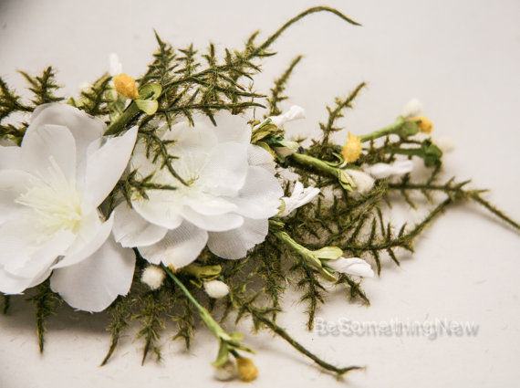 Fern And White Flower Wedding Hair Comb Garden Wedding Boho Hair