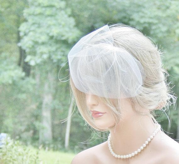 Mariage - Birdcage Veil, Mini Bird Cage Veil, Short Veil, Blusher Veil, Bridal Birdcage Veil, Wedding Veil, 6 inch birdcage Veil, ivory, White