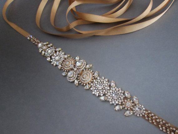 Hochzeit - Bridal crystal belt sash, Gold bridal belt, Rhinestone crystal belt, Wedding belt, Waist sash, Beaded bridal belt, Grosgrain ribbon belt