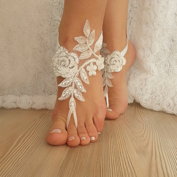 Ivory Barefoot Silver Frame French Lace Sandals Wedding Anklet Beach Embroidered