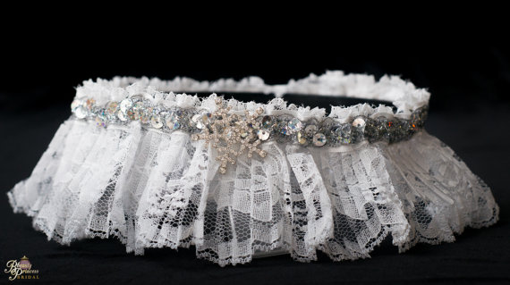 Hochzeit - Winter Wonderland Handmade Couture Style Fairytale Bridal Garter Custom Made