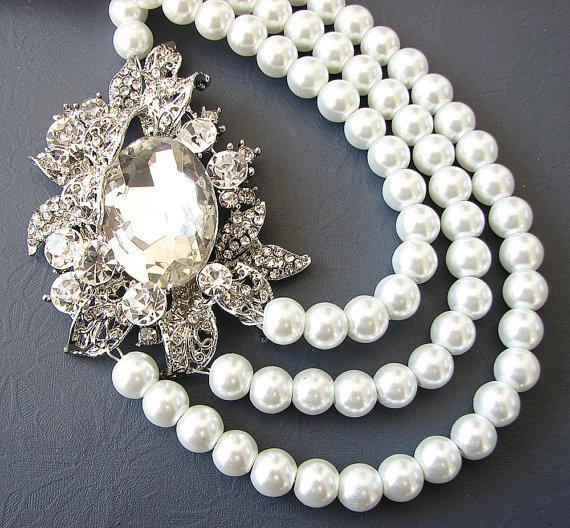 Mariage - Bridal Jewelry Wedding Statement Necklace Wedding Jewelry Pearl Bridal Necklace Rhinestone Necklace Triple Strand Bride Gift Bib Bridal