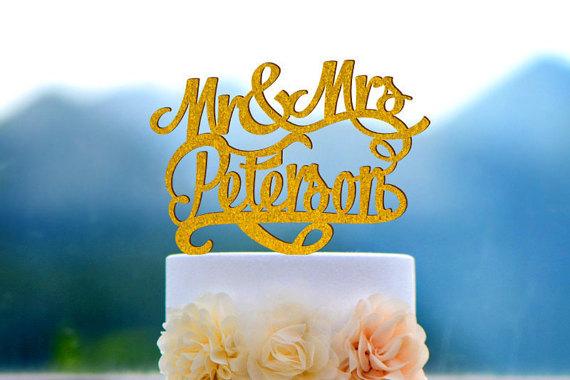 زفاف - Wedding Cake Topper Monogram Mr and Mrs cake Topper Design Personalized with YOUR Last Name 045