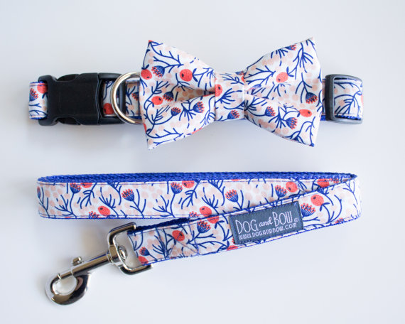 Свадьба - Removable Bow Tie For Dogs With Collar Optional Leash by Dog and Bow