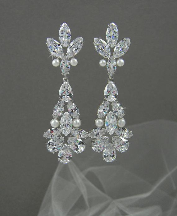 Mariage - Bridal Earrings, Pearl Wedding Earrings, Crystal Bridal Jewelry, Vintage Style, Long Bridal Earrings, Swarovski, Danella Bridal Earrings