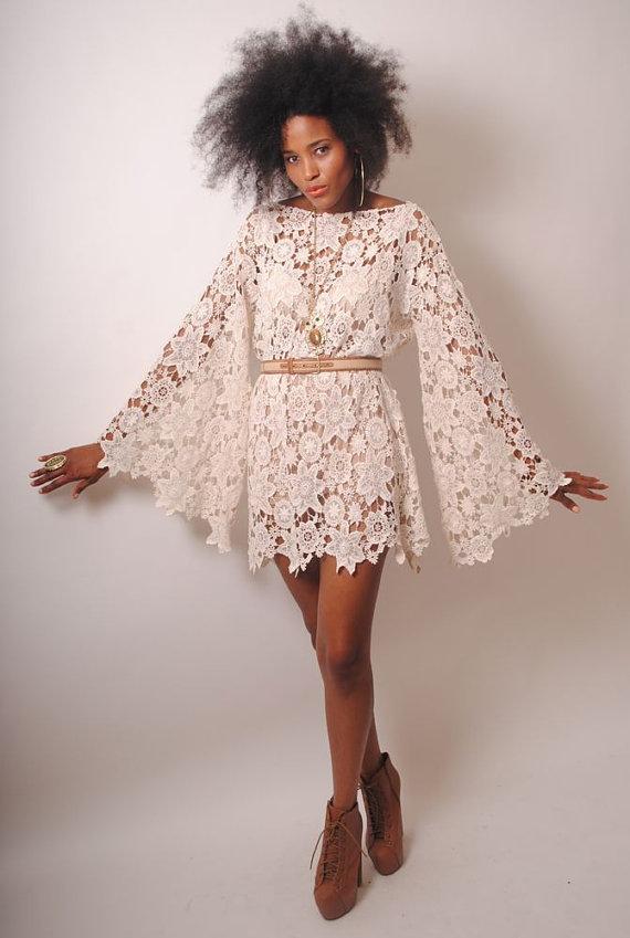 Bell Sleeve Vintage Inspired 70s Style Ivory Lace Crochet Hippie Mini Dress Boho Bohemian Hippy Wedding Handmade