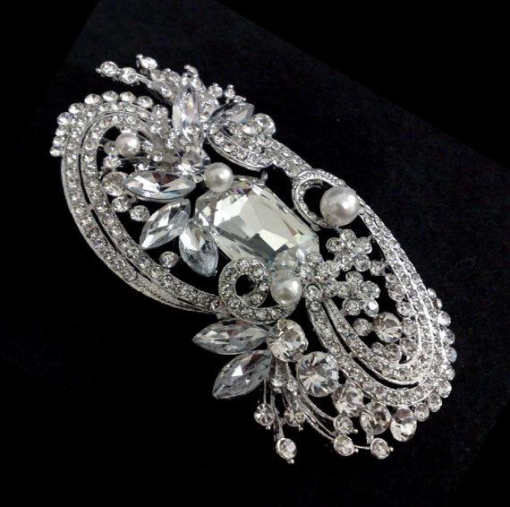 Свадьба - Statement Wedding Broach, Bridal Dress Jewelry, Pearl Broach, Rhinestone Broach, Crystal Brooch, Sash Pin, ANDROMEDA