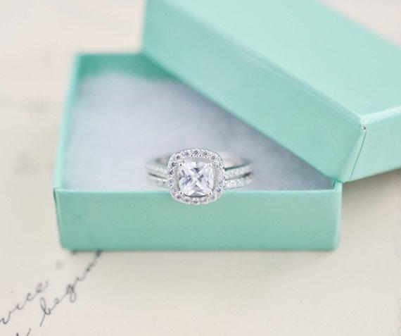 Mariage - Wedding Ring Set - Cushion Cut Ring - Sterling Silver Ring - Engagement Ring - Cubic Zirconia Ring - Halo Engagement Ring - 1 Carat
