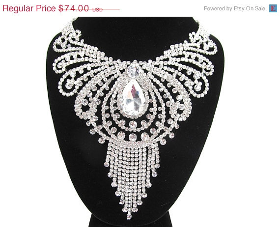 Hochzeit - SPRING SALE Rhinestone Crystal Drop Swirl Statement Bridal Necklace Wedding Necklace