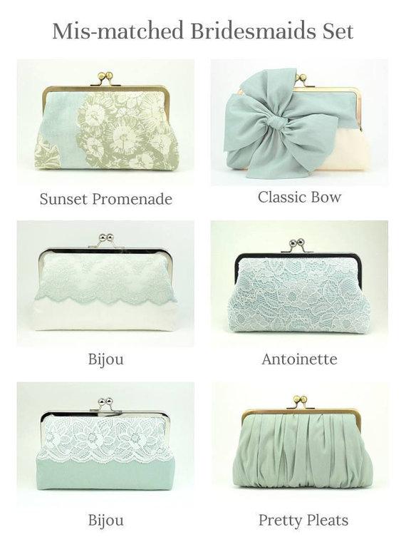 Wedding - Mint Bridesmaids Clutches
