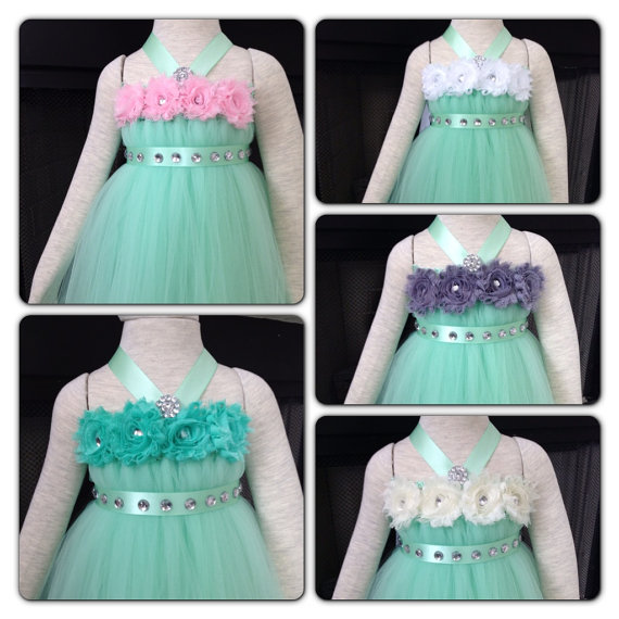 Wedding - Mint Flower Girl Tutu Dress Wedding Dress Birthday Holiday Picture Prop 3, 6, 9, 12, 18, 24 Month, 2T, 3T,4T 5T 6T Mint Flower Girl  Dress