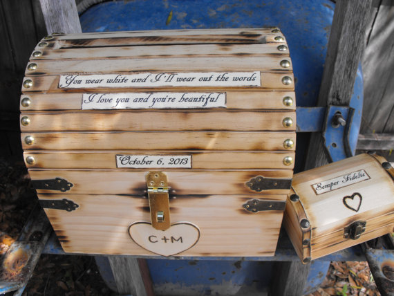 Hochzeit - Personalized Wedding Card Money & Ring Bearer Box Set Rustic Woodland Fairy tale Whimsical Treasure Boxes