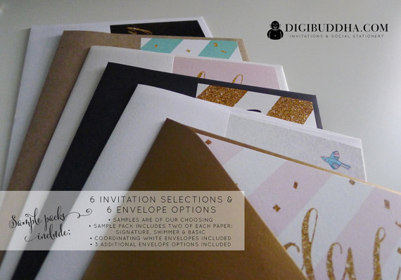 زفاف - DIGIBUDDHA SAMPLE PACK 6 Invitations & 6 Envelopes Free Shipping and Includes Coupon towards Future Purchase. Card stock Wedding Bridal Baby