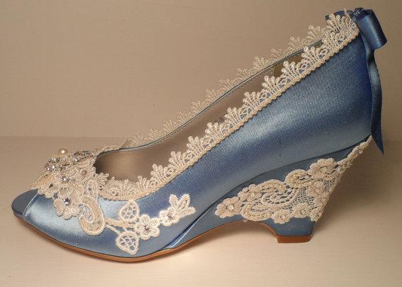 Blue Wedding Wedges Lace Wedge Bridal Peeptoe Wedge Blue Wedding Custom Bespoke Wedding