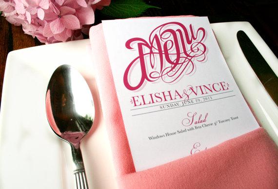 Wedding - Menu Cards with Sophisticated & Elegant Script - Modern Wedding Reception Menus - Printable DIY - Napkin Menus - Pink - Anna