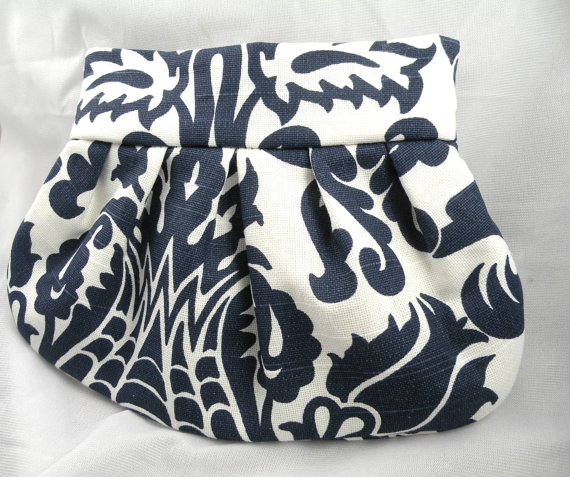 Свадьба - Pleated Clutch Purse Wedding Bride Bridesmaid AMSTERDAM Navy and White--8 Colors Available