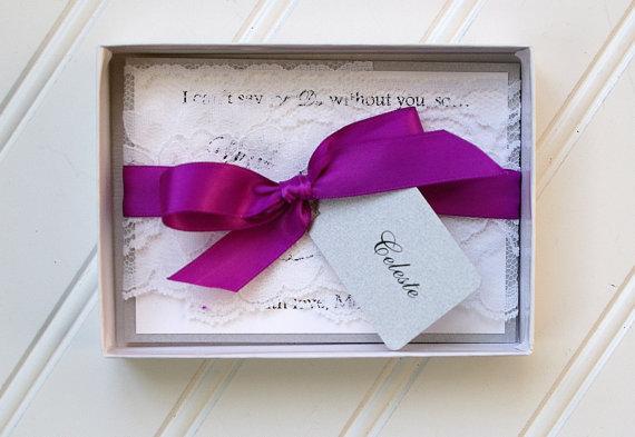Свадьба - Elegant Will You be My Bridesmaid Invitations- Custom Hang Tag. Plum Ribbon. Handmade Wedding Card. Lace Trim.