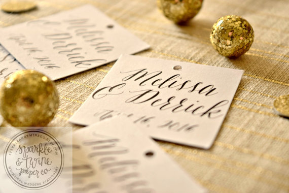 Wedding - Wedding Favor Tags, Personalized Wedding Favor Tags, Bridal Shower Tags, Bride and Groom Tags (PER03) - Set of 24