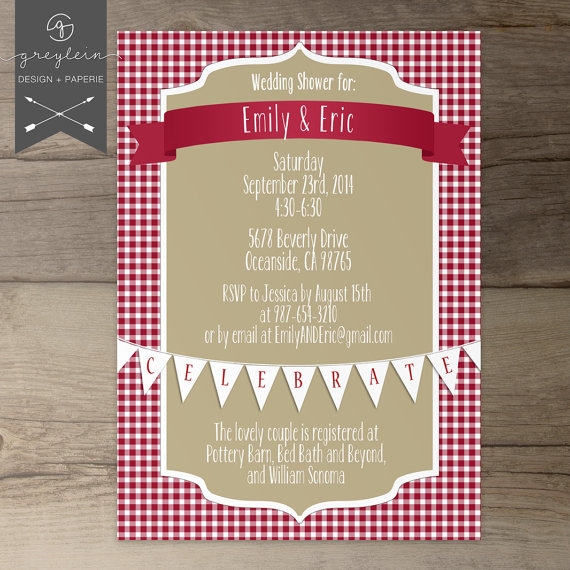 picnic shower invitations wedding bridal baby red khaki