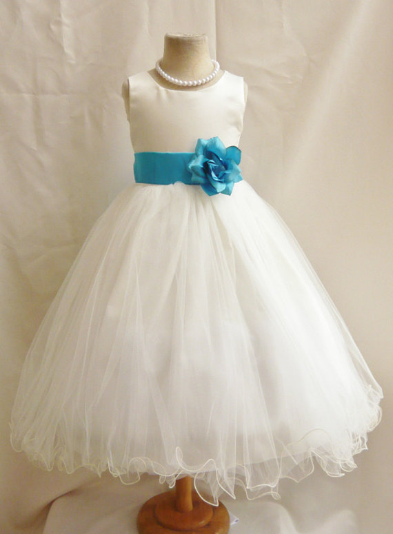 fea1550e7dfcd Flower Girl Dresses - IVORY With Turquoise (FD0FL) - Wedding Easter ...