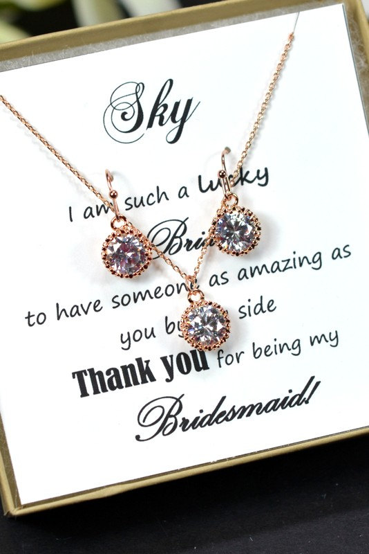 Hochzeit - Bridesmaid gifts ,Wedding Jewelry Bridesmaid Jewelry Bridal Necklace Bridesmaid Necklace Clear White Crystal halo drop Necklace, rose gold
