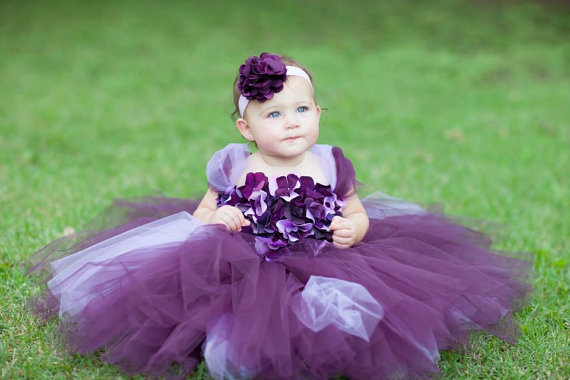 Свадьба - Flower girl dress Deep Purple and Lavender tutu dress, flower top, hydrangea top, toddler tutu dress
