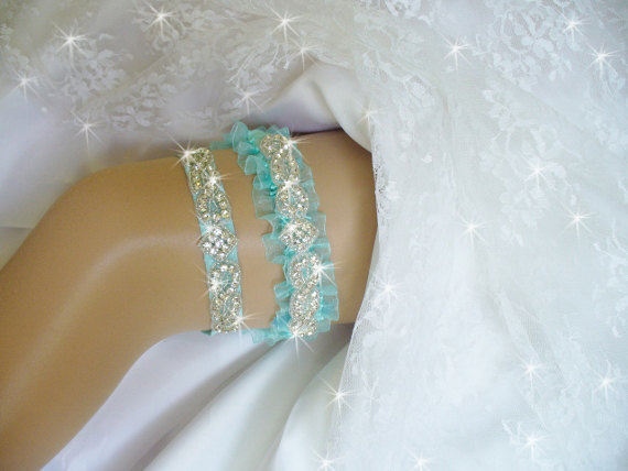 Свадьба - Light Turquoise Blue Wedding Garter Set, Lt. Turquoise Garter, Bling Bridal Garter Belts, Rhinestone Garters, Keepsake Wedding Garder