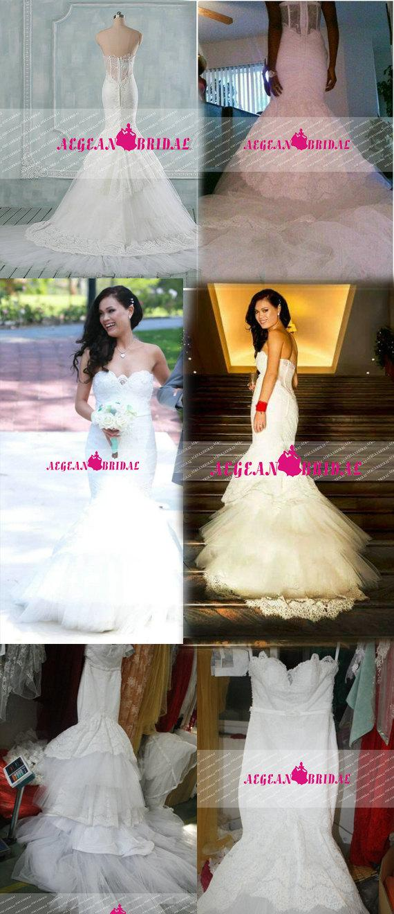 Wedding - RW291 Lace Wedding Dress with Knot Sash Pearls Mermaid Bridal Dress with Fishbone Long Bridal Gown Sweetheart Wedding Gown with Beading