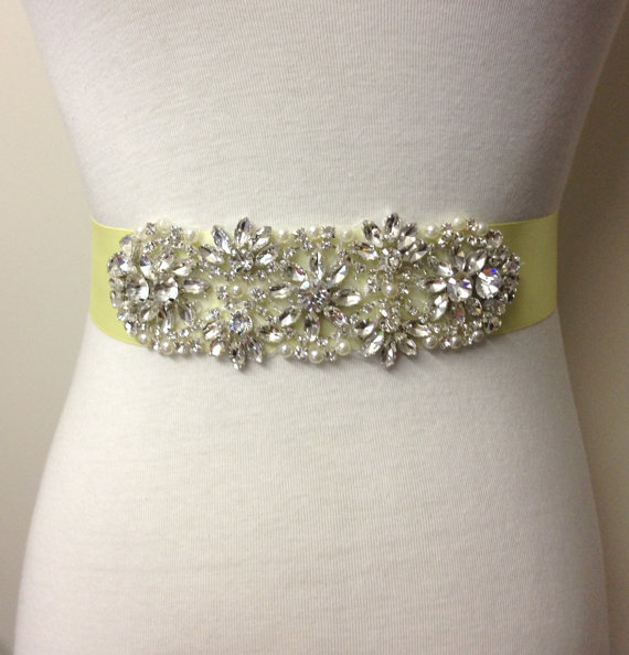 زفاف - Rhinestone Sash-Yellow Sash-Pale Yellow Sash-Wedding Dress Sash-Crystal Sash-Bridal Sash-Rhinestone Belt-Floral Crystal Pearl Applique Sash