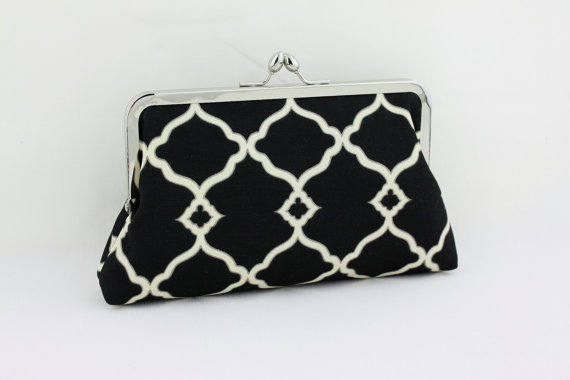 Mariage - Black & White Classic Bridesmaid Clutch / Wedding Purse Clutch / Wedding Gift - the Florence Style Clutch