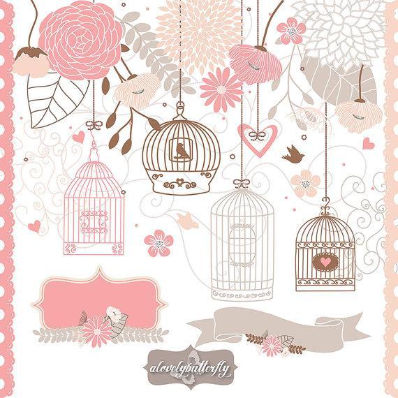 Свадьба - Wedding Flower cage Clipart, bird clipart, rose blush, beige, lavender , wedding flower, invitation, arrows, banners, INSTANT DOWNLOAD